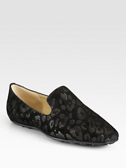 Jimmy Choo - Wheel Leopard-Embossed Suede Smoking Slippers