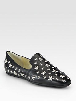 Jimmy Choo - Wheel Star-Studded Leather Loafers