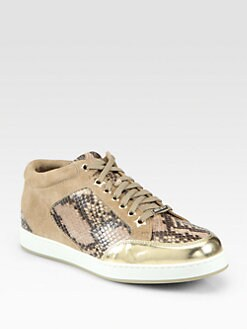 Jimmy Choo - Miami Snake-Print Leather & Suede Lace-Up Sneakers