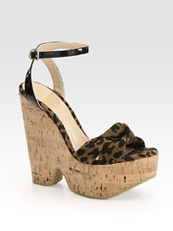 Jimmy Choo - Gleam Leopard-Print Suede Cork Wedge Sandals