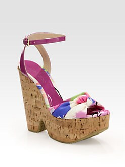Jimmy Choo - Gleam Floral-Print Silk Cork Wedge Sandals