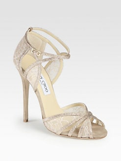 Jimmy Choo - Fitch Glitter & Lace Sandals