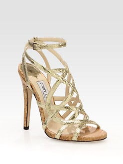 Jimmy Choo - Dehlia Metallic Leather Cork Heel Sandals