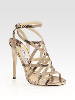 Jimmy Choo - Delhia Snake-Print Leather Sandals