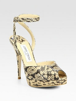 Jimmy Choo - Liz Gel Snake-Print Leather Ankle Strap Pumps