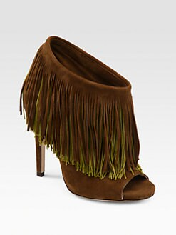 Jimmy Choo - Damita Suede & Silk Fringe Platform Ankle Boots