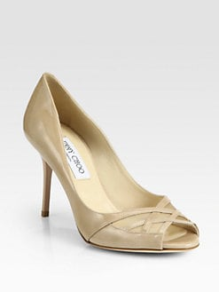 Jimmy Choo - Mesh & Patent Leather Crisscross Pumps