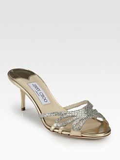 Jimmy Choo - Mimi Glitter & Metallic Leather Slides