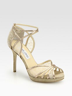 Jimmy Choo - Fable Glitter & Lace Sandals