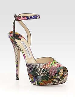 Jimmy Choo - Lola Floral-Print Python Ankle Strap Sandals