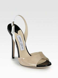 Jimmy Choo - Colorblock Patent Leather Slingback Sandals