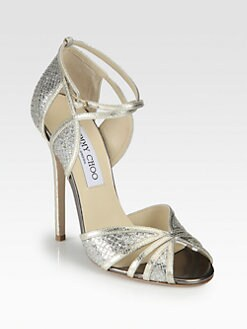 Jimmy Choo - Fitch Glitter & Metallic Leather Sandals