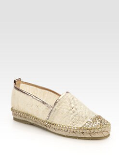 Jimmy Choo - Gaya Glitter-Coated Mesh & Metallic Leather Espadrilles