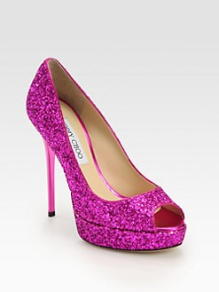 Jimmy Choo - Crown Glitter Platform Pumps