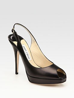 Jimmy Choo - Clue Leather Peep Toe Pumps