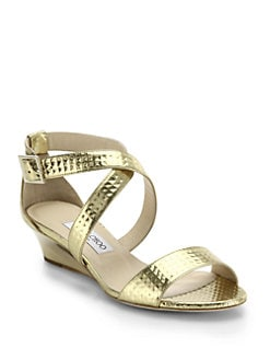 659395207630 Jimmy Choo Chiara Metallic Leather Wedge Sandals