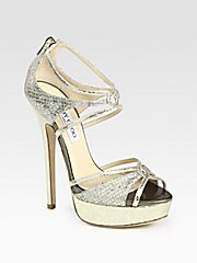 Sierra Glitter-Coated Snake-Print Leather Platform Sandals