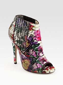 Jimmy Choo - Bolt Floral-Print Python Ankle Boots
