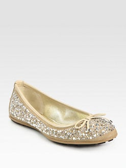 Jimmy Choo - Crystal-Embellished Suede Ballet Flats