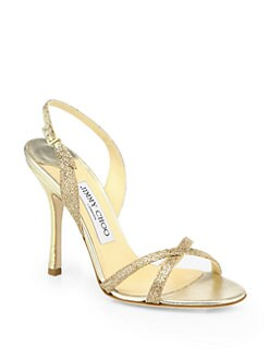 Jimmy Choo - Metallic Glitter-Coated Leather Ingrid Sandals