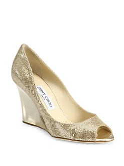 Jimmy Choo - Baxen Glitter-Coated Metallic Leather Wedge Pumps