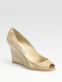 Jimmy Choo - Baxen Patent Leather Peep Toe Wedge Pumps