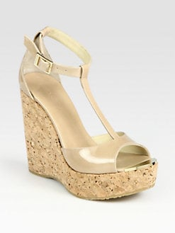 Jimmy Choo - Pela Patent Leather T-Strap Wedge Sandals