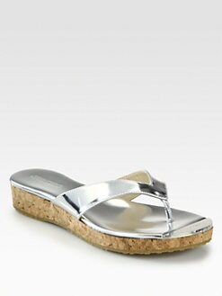 Jimmy Choo - Pence Metallic Leather Thong Sandals