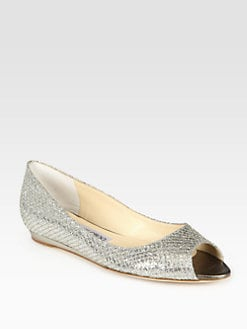 Jimmy Choo - Beck Glitter-Coated Metallic Leather Wedges