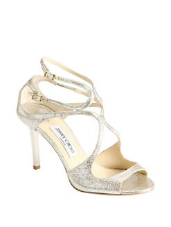 Jimmy Choo - Ivette Crinkled Leather Sandals