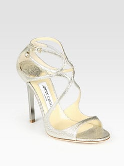 Jimmy Choo - Strappy Pebbled Metallic Leather Sandals