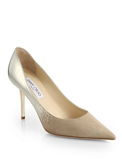 Jimmy Choo - Agnes Mirror Leather & Suede Degrade Pumps