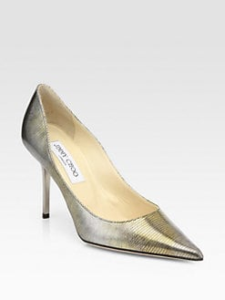 Jimmy Choo - Agnes Metallic Lizard-Print Leather Pumps