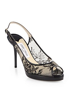 Jimmy Choo - Nova Lace & Patent Leather Slingback Pumps