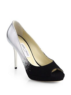 Jimmy Choo - Luna Suede & Mirror Leather Degrade Pumps