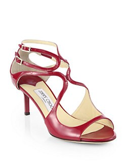 Jimmy Choo - Lila Patent Leather Crisscross Sandals