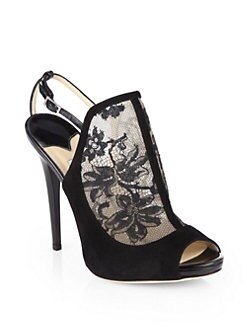 Jimmy Choo - Maylen Lace & Suede Sandals