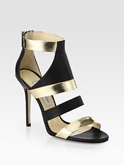 Jimmy Choo - Besso Metallic Mirror Leather Sandals