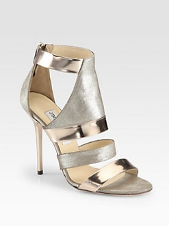 Jimmy Choo - Besso Metallic Mirror Leather Glitter Sandals
