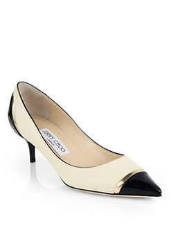 Jimmy Choo - Leap Leather Cap-Toe Pumps