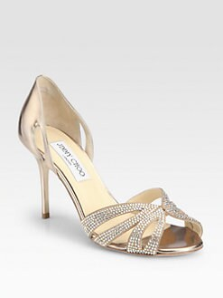 Jimmy Choo - Bauble Crystal-Coated Suede  Sandals