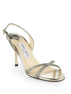 Jimmy Choo - India Glitter Lame Slingback Sandals