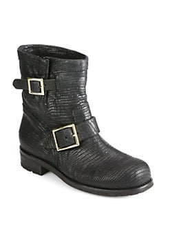 Jimmy Choo - Youth Lizard-Embossed Leather Biker Boots