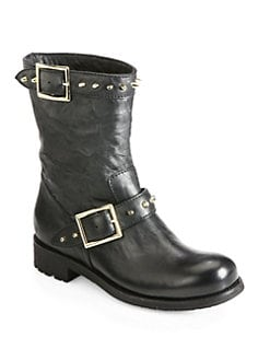 Jimmy Choo - Dash Studded Leather Biker Boots