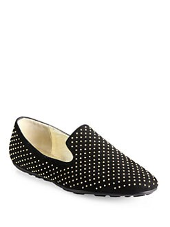 Jimmy Choo - Wheel Studded Suede Smoking Slippers
