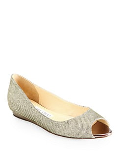 Jimmy Choo - Beck Glitter Lam&#233; Peep-Toe Flats