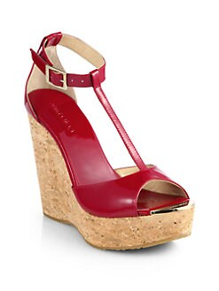 Jimmy Choo - Pela Patent Leather T-Strap Cork Wedge Sandals