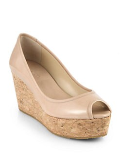 Jimmy Choo - Purdey Patent Leather Cork Wedge Pumps