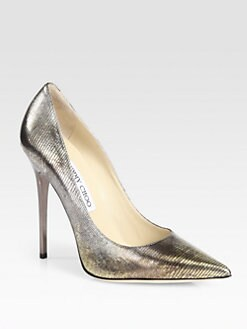 Jimmy Choo - Anouk Metallic Lizard-Print Leather Pumps