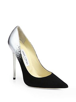 Jimmy Choo - Anouk Suede & Metallic Leather Degrade Pumps